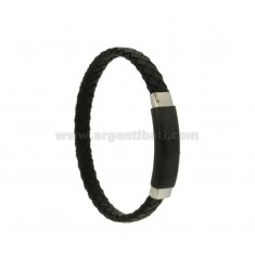 BRACELET IN BLACK WOVEN LEATHER WITH PLATE 10 MM STEEL PLATED RUTENIO