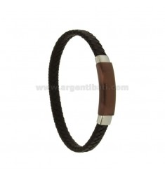 BRACELET BROWN WOVEN LEATHER WITH PLATE 10 MM STEEL PLATED choccolate