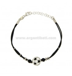 BRACELET DOUBLE SILK WIRE WAXED BLACK WITH FOOTBALL 11 MM GLAZED BLACK AND WHITE SILVER TIT 925 ‰ CM 18.21