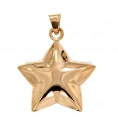 CHARM GEKUPPELTE STAR MM 36x32 SILBER Rose Vergoldet TIT 925 ‰