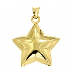 CHARM GEKUPPELTE STAR MM 36x32 Silber Vergoldet TIT 925 ‰