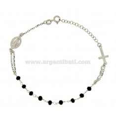BRACELET ROSARY A TOUR WITH BLACK STONES IN TIT SILVER 925 CM 18.22
