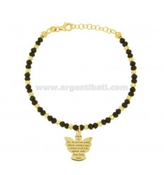 BRACELET WITH STONES HYDROTHERMAL faceted BLACK WITH ALTERNATE BALLS AND ANGEL PRAYER IN CENTRAL AG GOLD PLATED TIT 925