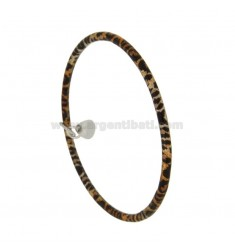 BRACELET A CIRCLE ROUND ROD 3.5 MM INTERNAL DIAMETER 7 MM SILVER TIT 925 ‰ GLAZED BRONZE WITH DROP PENDING