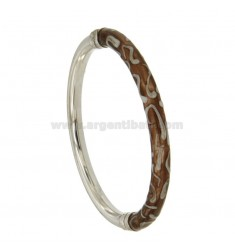 BRACELET OVAL BARREL ROUND 6 MM SILVER RHODIUM TIT 925 ‰ BRONZE WITH POLISH AND WHITE AND CLOSING SIDE