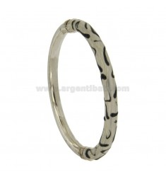 BRACELET OVAL BARREL ROUND 6 MM SILVER RHODIUM TIT 925 ‰ WITH POLISH GREY AND BLACK AND CLOSING SIDE