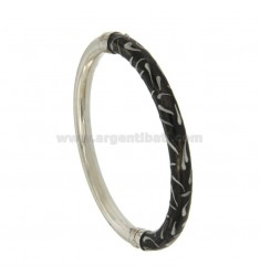 BRACELET OVAL BARREL ROUND 6 MM SILVER RHODIUM TIT 925 ‰ WITH POLISH BLACK AND GREY CLOSING SIDE