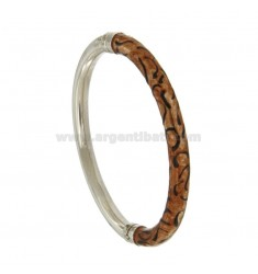 BRACCIALE OVALE CANNA TONDA MM 6 IN ARGENTO RODIATO TIT 925‰ CON SMALTO MARRONE E NERO E CHIUSURA LATERALE