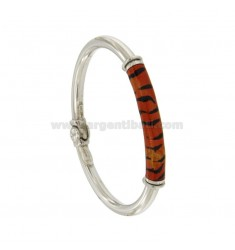 BRACELET OVAL BARREL ROUND 5 MM SILVER RHODIUM TIT 925 ‰ WITH POLISH ORANGE AND BLACK