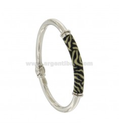 BRACELET OVAL BARREL ROUND 5 MM SILVER RHODIUM TIT 925 ‰ WITH POLISH BLACK AND YELLOW