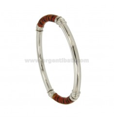 BRACELET OVAL BARREL ROUND 5 MM SEMI ELASTIC SILVER RHODIUM TIT 925 ‰ WITH POLISH ORANGE AND BLACK