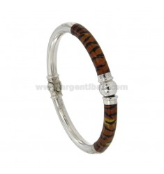 BRACELET OVAL BARREL ROUND 6 MM SILVER RHODIUM TIT 925 ‰ BRONZE WITH POLISH AND WHITE