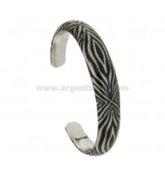 BANGLE 11 MM SILVER RHODIUM TIT 925 ‰ GLAZED FANTASY WITH TONE BLACK AND WHITE