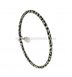 BRACELET A CIRCLE ROUND ROD 3.5 MM INTERNAL DIAMETER 7 MM SILVER TIT 925 ‰ GLAZED BLACK AND WHITE WITH DROP PENDING