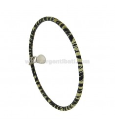 BRACELET A CIRCLE ROUND ROD 3.5 MM INTERNAL DIAMETER 7 MM SILVER TIT 925 ‰ GLAZED BLACK AND YELLOW PENDANT DROP