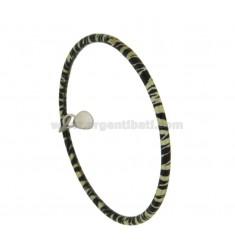 PULSERA un círculo alrededor de 3,5 MM ROD INTERNA 7 mm de diámetro SILVER TIT 925 ‰ GLAZED NEGRO Y AMARILLO Colgante