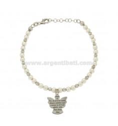 Pulsera con perlas BLANCO CON LAS BOLAS suplentes y ORACIÓN ÁNGEL EN CENTRAL AG RODIATO TIT 925