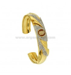 BANGLE 12 MM WITH CENTRAL AND CRYSTAL CAMEO SILVER GOLD PLATED TIT 925 ‰