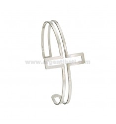 BANGLE 6 MM WITH CROSS IN SILVER RHODIUM TIT 925