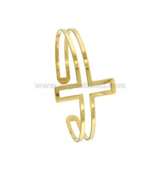 BANGLE 6 MM WITH CROSS IN SILVER GOLD PLATED TIT 925