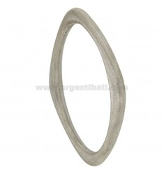 BRACCIALE RIGIDO A ROMBO MM 6 DIAMETRO INTERNO CM 7 IN ARGENTO RODIATO SATINATO TIT 925‰