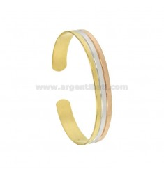 BANGLE 10MM SILVER PLATED RHODIUM TRICOLORE GOLD AND ROSE GOLD TIT 925 ‰