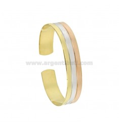 BANGLE 12 MM SILVER TRICOLORE RHODIUM PLATED GOLD AND ROSE GOLD TIT 925 ‰