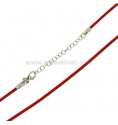 NECKSTRAP CORDINO NAUTICAL 45.50 CM RED WITH CLOSURE IN SILVER RHODIUM TIT 925 ‰