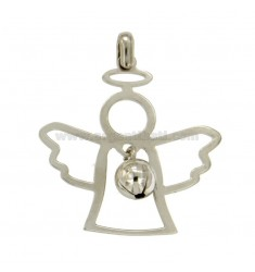 PENDANT SHAPE ANGELO 32x36 MM WITH ANGELS TALK IN SILVER RHODIUM TIT 925 ‰