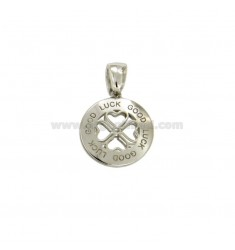 PENDANT 14 MM ROUND WITH CENTRAL AND CLOVER WRITTEN GOOD LUCK IN SILVER RHODIUM TIT 925 ‰