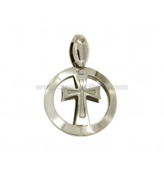 PENDANT 20 MM RUND MIT KREUZ IN CENTRAL RODIATO TIT 925 ‰