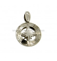 PENDANT 20 MM ROUND WITH WIND ROSE CENTRAL SILVER RHODIUM TIT 925 ‰