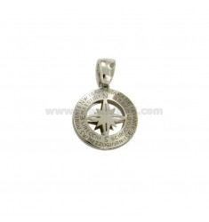 PENDANT 14 MM ROUND WITH WIND ROSE CENTRAL SILVER RHODIUM TIT 925 ‰