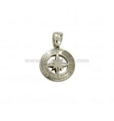 PENDANT 14 MM RUND mit Windrose CENTRAL Silber rhodiniert TIT 925 ‰