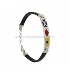 BRACELET RUBBER &39WITH PLATE MM 7 NAUTICAL FLAGS WITH GLAZED SILVER RHODIUM TIT 925 ‰