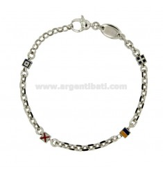 SILVER BRACELET RHODIUM TIT 925 ‰ DICE WITH VARNISHED WITH FLAGS NAUTICAL