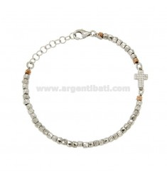 BRACELET WITH MICRO DIAMETER 3 NUGGETS WITH CROSS IN SILVER RHODIUM AND COPPER TIT 925 ‰ 18.21 CM AND ZIRCONIA