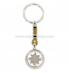 KEY RING AGAIN, ROSE OF THE WINDS AND HELM IN CIRCLE 28 MM SILVER RHODIUM 925 ‰ AND TWINE