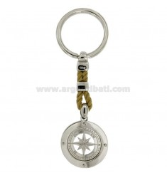 KEY RING ROSE OF THE WINDS 28 MM SILVER RHODIUM 925 ‰ AND TWINE