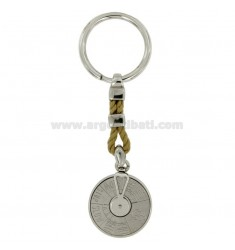 NAVIGATION KEY RING 28 MM SILVER RHODIUM 925 ‰ AND TWINE
