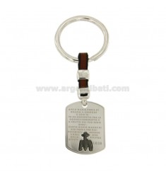 KEY RING RECTANGULAR MM 30x23 WITH HAIL MARY AND SILVER RHODIUM PLATED RUTENIO 925 ‰ AND LEATHER