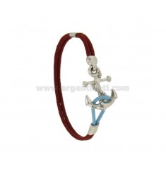 BRACELET RED ROPE CM 17.20 MM 24x17 WITH STILL IN AG TIT RODIATO 925 ‰