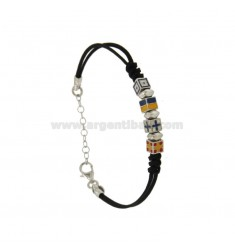 ROPE BRACELET WITH BLACK CM 17.20 SMALTTI DICE WITH NAUTICAL FLAGS IN SILVER RHODIUM TIT 925 ‰