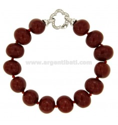 BRACCIALE IN PASTA DI CORALLO MM 14X15 CM 24 IN ARGENTO RODIATO TIT 925‰ E ZIRCONI