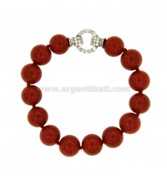 BRACCIALE IN PASTA DI CORALLO MM 12 CM 21 IN ARGENTO RODIATO TIT 925‰ E ZIRCONI
