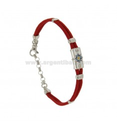 BRACELET WITH RED SILK CERATA PLATE WITH WIND ROSE GLAZED FIRE WITH ASSORTED COLORS SILVER RHODIUM TIT 925 ‰ CM 18.21