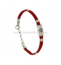 PULSERA con la seda roja CERATA PLACA CON EL VIENTO ROSE GLAZED FUEGO con colores clasificados plata del rodio TIT 925 ‰ 18.21 C