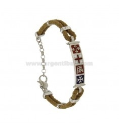 BRACELET DOUBLE ROPE COLOR GOLD PLATE WITH 8 MM SILVER RHODIUM TIT 925 ‰ WITH MARITIME REPUBLICS GLAZED