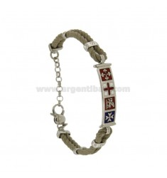 BRACELET DOUBLE CORD IVORY WITH PLATE 8 MM SILVER RHODIUM TIT 925 ‰ WITH MARITIME REPUBLICS GLAZED