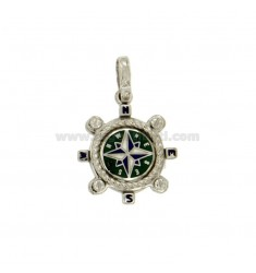 Pendant RUDDER 17 MM SILVER RHODIUM TIT 925 ‰ WITH WIND ROSE SMALTATA ASSORTED COLORS